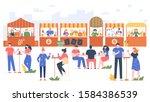 outdoor food fest. people in... | Shutterstock .eps vector #1584386539