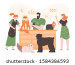 pets in grooming salon.... | Shutterstock .eps vector #1584386593