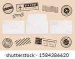 envelope template with stamp... | Shutterstock .eps vector #1584386620