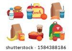 school lunch boxes collection ... | Shutterstock .eps vector #1584388186