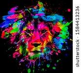 Artistic Lion On Black...