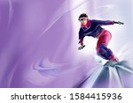 young bold snowboarder at the... | Shutterstock . vector #1584415936