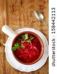 traditional ukrainian borscht... | Shutterstock . vector #158442113
