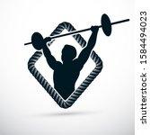 vector illustration of muscular ... | Shutterstock .eps vector #1584494023