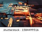 a futuristic glowing cpu... | Shutterstock . vector #1584499516
