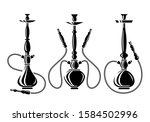 hookah set. collection icons... | Shutterstock .eps vector #1584502996