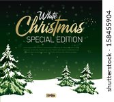 christmas greeting card. merry... | Shutterstock .eps vector #158455904