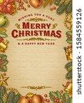 vintage merry christmas... | Shutterstock . vector #1584559126