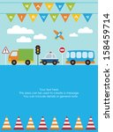 happy birthday vehicle card.... | Shutterstock .eps vector #158459714
