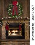 Two Christmas Stockings Hangin...