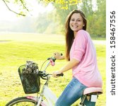 happy student girl with bicycle ... | Shutterstock . vector #158467556