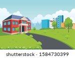 school building with green...   Shutterstock .eps vector #1584730399