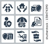 vector insurance icons set  ... | Shutterstock .eps vector #158474390