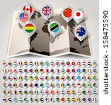 map world with 108 flags.... | Shutterstock .eps vector #158475590