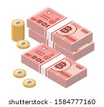 isometric stacks of 100 thai... | Shutterstock .eps vector #1584777160