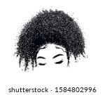 curly beauty girl illustration... | Shutterstock .eps vector #1584802996