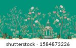 beautiful exotic chinoiserie... | Shutterstock .eps vector #1584873226