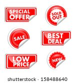 red tags for sale  offer  price ... | Shutterstock .eps vector #158488640