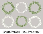 christmas wreaths silhouettes... | Shutterstock .eps vector #1584966289