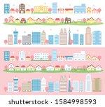 spring city landscape buildings ...   Shutterstock .eps vector #1584998593