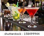 five cocktails on the bar... | Shutterstock . vector #158499944