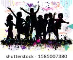 black silhouette of children ... | Shutterstock . vector #1585007380