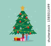 christmas tree with gifts box | Shutterstock .eps vector #1585011499