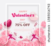happy valentine's day banner... | Shutterstock .eps vector #1585016743