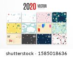 2020 calendar template. vector... | Shutterstock .eps vector #1585018636
