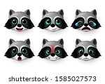 raccoon emoticon or emojis... | Shutterstock .eps vector #1585027573
