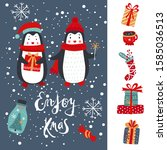 new year card with the... | Shutterstock .eps vector #1585036513