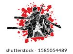 group of cricket players action ... | Shutterstock .eps vector #1585054489