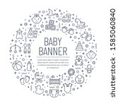 Baby banner with line icons. Children's toys and clothes, newborn and kids, feeding and care themes. White background with black outline symbols and place for text. Vector card.