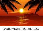 Beach Sunset Illustration With...