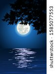 night tree silhouette with moon ... | Shutterstock .eps vector #1585077553
