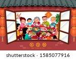 family enjoy reunion dinner... | Shutterstock .eps vector #1585077916