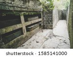 Abandoned ammunition box at Cannon Cove on Cat Ba Island, Lan Ha Bay Ha Long Bay left over from the Vietnam war with America