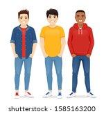 multiethnic men friends. three... | Shutterstock .eps vector #1585163200