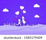 white silhouette of cute boy... | Shutterstock .eps vector #1585179409