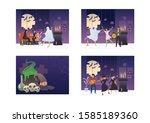 collection of halloween horror... | Shutterstock .eps vector #1585189360