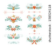 set of christmas and new year... | Shutterstock .eps vector #158524118