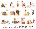 garage sale items sellers... | Shutterstock .eps vector #1585301620