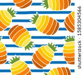 seamless pattern with pineapple ... | Shutterstock .eps vector #1585304566