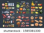 food set. collection of various ... | Shutterstock . vector #1585381330