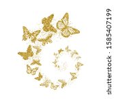 golden glitter butterflies fly... | Shutterstock . vector #1585407199