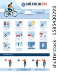 safe cycling tips for riding... | Shutterstock .eps vector #1585430293