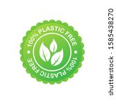 plastic free green icon badge....   Shutterstock .eps vector #1585438270