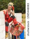 woman in dungarees relaxing... | Shutterstock . vector #1585448083