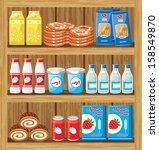 supermarket. shelfs with food.... | Shutterstock .eps vector #158549870
