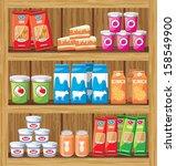 supermarket. shelfs with food.... | Shutterstock .eps vector #158549900
